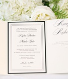 Wedding invitation black and white ivory reception rehearsal wedding invite