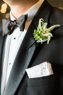 simple green boutonniere no flowers