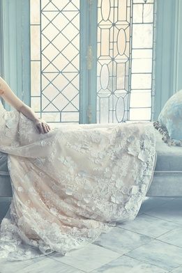 Sareh Nouri Spring 2018 bridal collection Chelsea wedding dress ivory pink sweetheart neckline dress