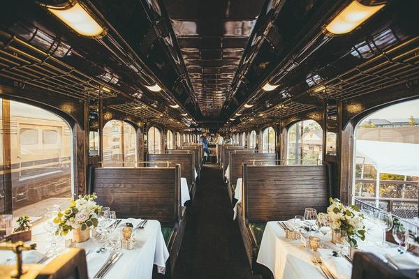 wedding reception on napa valley wine train, intimate wedding reception on train car