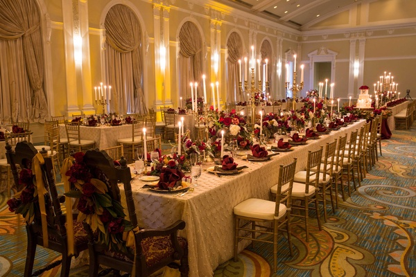 long red and white tablescapes renaissance still life art theme concept jewish florida wedding hotel