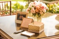Wedding shower with cards for guests to write date night ideas for newlyweds, gold, white box