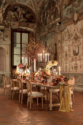 renaissance inspired tablescape in palace in florence, table runner, still life inspired