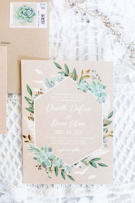 wedding invitation for rustic chic wedding in santa barbara area succulents greenery kraft paper