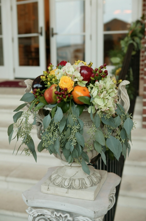 Church entrance flower and fruit wedding flowers