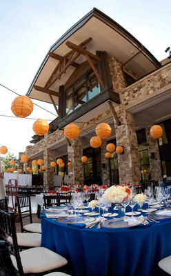 Modern outdoor wedding in park city utah inside weddings mountain lodge wedding venue with orange paper lanterns junglespirit