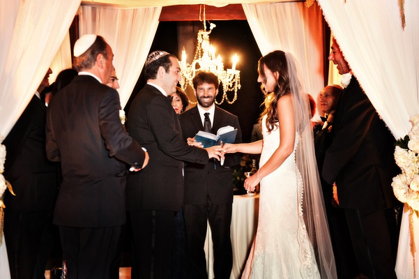 Evening ceremony, lit-up chuppah, illuminated ceremony Jewish wedding