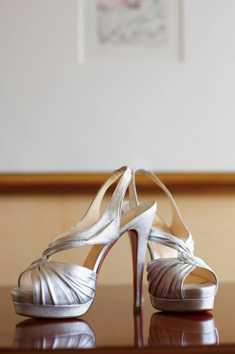 Metallic, open-toe crinkle wedding shoes