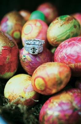 Diamond ring and wedding band on eggs