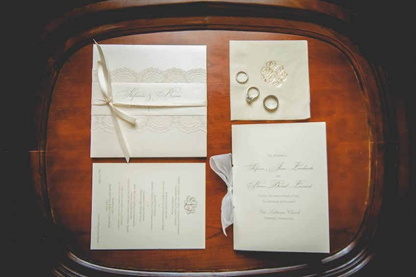 Cream wedding invitation suite with lace and ribbon embellishments