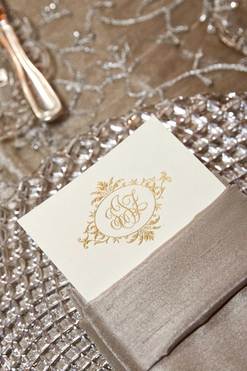 Invitations & More Photos - Formal Gold Monogram on Menu - Inside ...