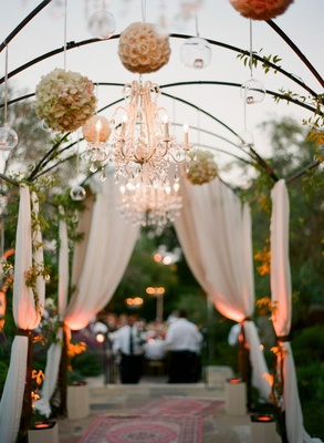 Alfresco drapery, chandelier and pomander balls
