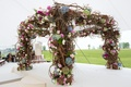 chuppah with pink, blue, and green hydrangeas with lots of branches