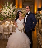 Bride in off shoulder trumpet mermaid gown matthew christopher tiara groom in tuxedo bow tie navy
