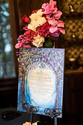 Jewish wedding tradition ketubah wedding ideas paint watercolor cut outs laser tree motif design