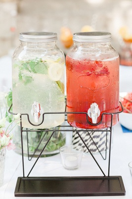 wedding ceremony cocktail hour infused water lemon water stripe straws strawberries
