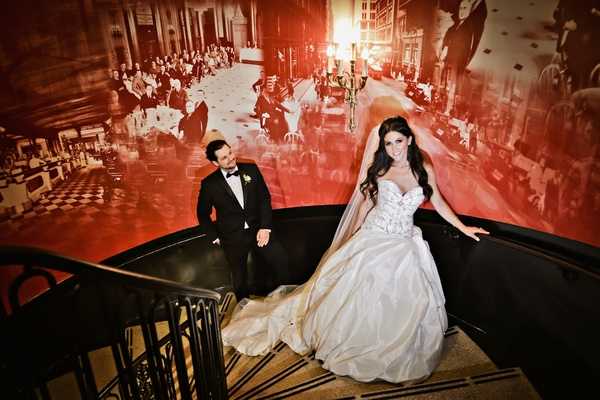 Ines Di Santo wedding dress and man in tuxedo