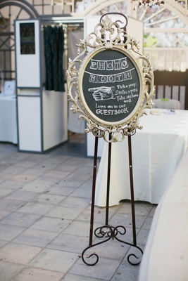 framed chalkboard for photo booth with vintage sign