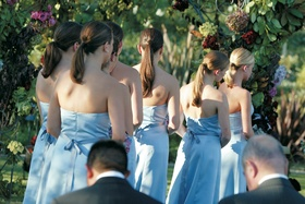 Bridesmaid dress in blue with tie around waist