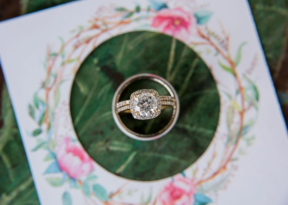 wedding engagement ring inside wedding bands santa barbara wedding yellow gold prongs