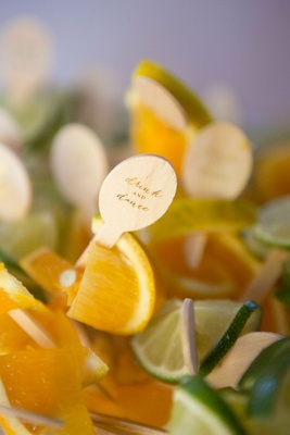 Drink stirrers and garnish wood pieces drink dance on slices of orange and lime fruit garnishes