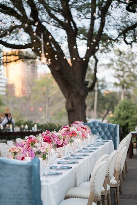 cafe lights over king's table for outdoor wedding, lounge seating, cushioned chairs