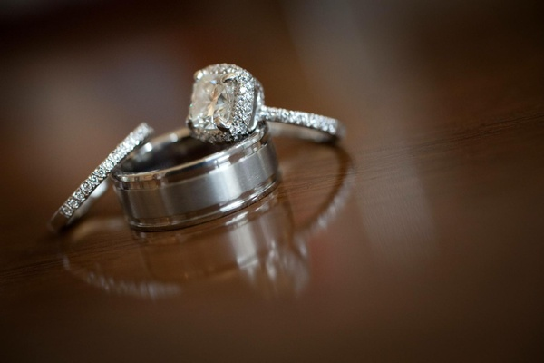 Platinum grooved wedding band and diamond rings