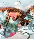 dancers with peacock costumes perform at reception, unique entertainment at reception