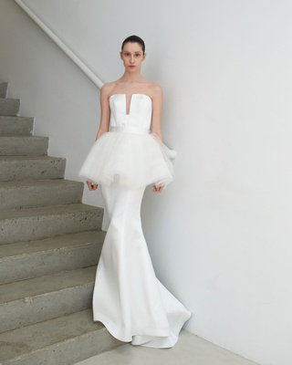 Francesca Miranda Spring 2019 bridal collection Ninette white wedding dress tutu peplum trumpet