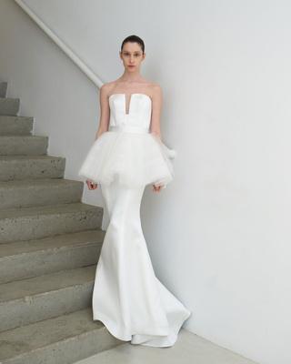 e6a8b691e83 Photo  Tawfick Photography. Francesca Miranda Spring 2019 bridal collection  Ninette white wedding dress tutu peplum trumpet.