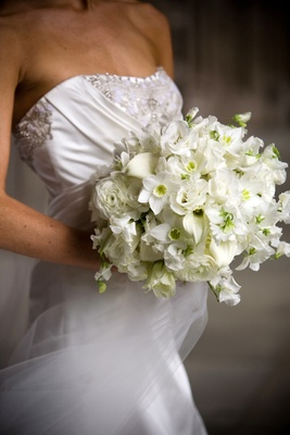 various white flowers in bridal bouquet