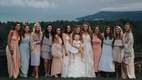 Bride with two bridesmaids baby and honorary bridesmaids light blue pink dresses