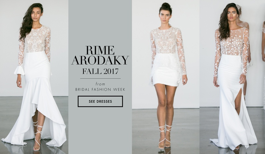 Rime Arodaky fall 2017 bridal collection wedding dresses lace short high low mini