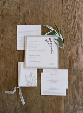 Dried lavender and embossed Scottish thistle