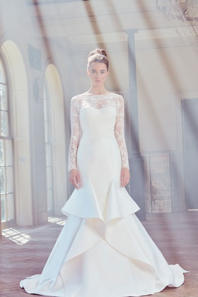 Sareh Nouri Spring 2019 collection lace long sleeve shantung trumpet gown with chapel train