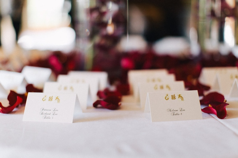 Reception Dcor Photos Place Card Table With Flower Petals