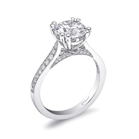 Solitaire engagement ring with double prong and diamonds