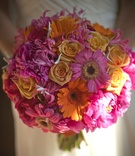 Fuchsia and yellow gerbera daisies