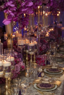 pink purple gold tablescape brimming flowers hanging chargers feminine bold styled shoot