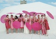 Bride with bridesmaids in mismatched gowns