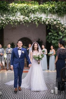 asian bride and groom wedding inspiration, bride in berta wedding dress, groom in navy suit