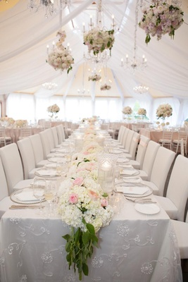 English garden theme wedding in white reception tent