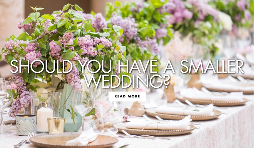 small arrangements of greenery, pink and purple flowers, pros and cons of smaller wedding