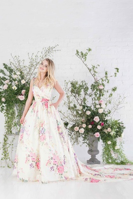 Charlotte Balbier Untamed Love v neck wedding dress with flower print and long train