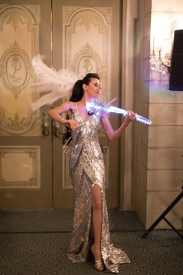 Wedding reception entertainment silver sequin dress gown electric violin feather in hair decor