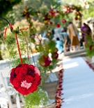 Red carnation pomander balls line aisle runner