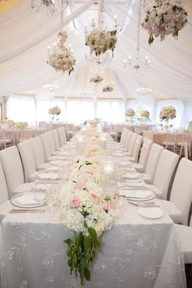English garden theme wedding in white reception tent