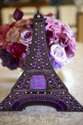 Wedding invitation box in shape of Paris Eiffel Tower