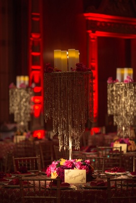 Beaded chandelier centerpiece with floral base