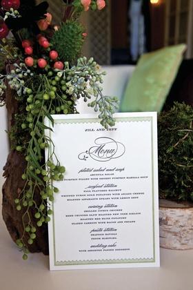 Green scallop design wedding menu card